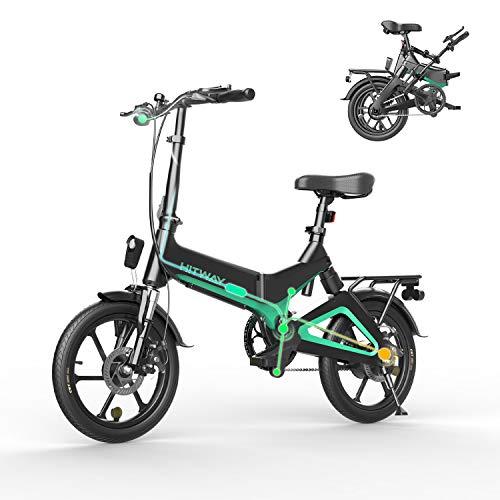 HITWAY Bicicleta eléctrica GEARSTONE, Ligera, 250 W, Plegable, eléctrica, con Asistencia de Pedal, con batería de 7,5 Ah, 16 Pulgadas, para Adolescentes y Adultos (Negro)