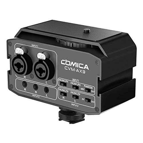 XLR Audio-Mixer, Comica CVM-AX3 Audiomixer Adapter Vorverstärker Dual XLR/3.5mm/6.35mm Port Kamera Mixer für Canon Nikon Sony Panasonic DSLR Kamera Camcorder (Support für Echtzeit-Überwachung)