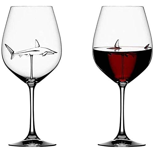 Hankyky italienische Rotweingläser aus Kristallglas Lustige Hai Tasse, PersöNlichkeit und Schlichte Weißweinkelche,Ideale Geschenkidee, Perfekt für zu Hause, Restaurants Partys,Hause, Bar