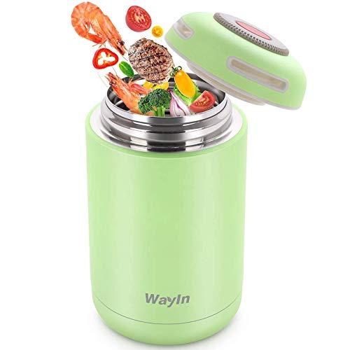 Wayin Frascos térmicos para Comida, 460ml Termo para Comida Botella Aislada de Acero Inoxidable Frascos térmicos para Alimentos, Beber y Sopa de los niños y Las Comidas de Adultos (Verde)