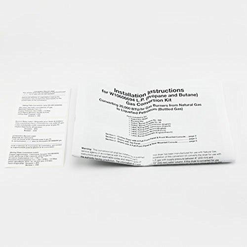 Whirlpool W10606694A Dryer LP Conversion Kit Genuine Original Equipment Manufacturer (OEM) Part for Whirlpool, Maytag, Kenmore Elite, Kenmore, Kitchenaid, Amana, Crosley, Sears Canada, Inglis
