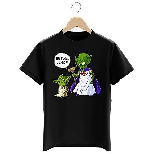 T-Shirt Enfant Garçon Noir Parodie Dragon Ball Z - Star Wars - Yoda et Le Tout Puissant - Ton père, Je suis. !! (T-Shirt Enfant de qualité Premium de Taille 9-10 Ans - imprimé en France)