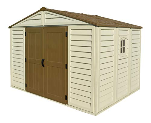 Duramax WoodBridge Plus 10.5' x 8' Plastic Garden Shed with Foundation Kit & Fixed Window - Ivory & Brown - 15 Years Warranty