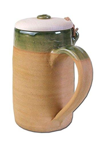 Historischer Bierkrug aus Ton, 1,0 Liter mit Holzklappdeckel