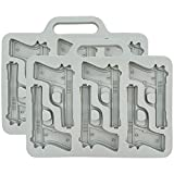 Fairly Odd Novelties Handgun Ice Cube Tray, 2 Pack Fun Gun Military Novelty Mold White Elephant Gift, One Size, Gray
