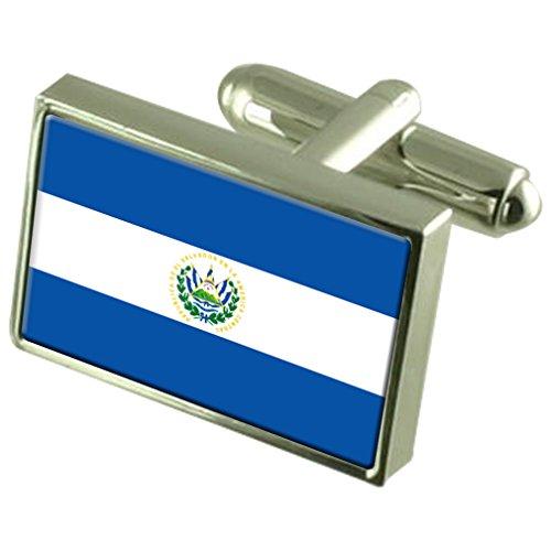 El Salvador Flagge Sterling Silber Manschettenknöpfe