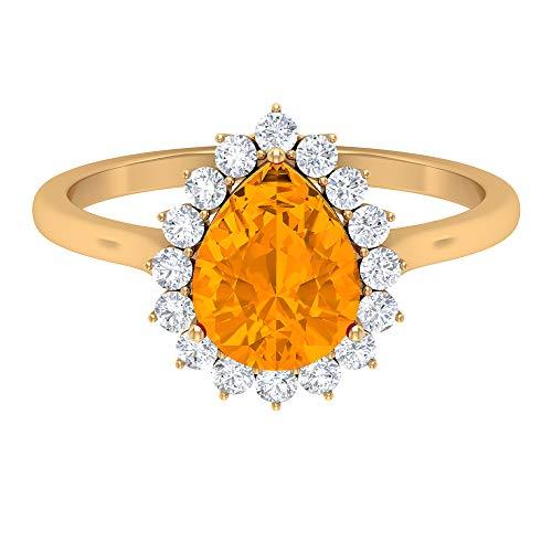Anillo de 9 x 7 mm con forma de pera, zafiro naranja creado en laboratorio, anillo de diamante de forma redonda, anillo de boda halo, lágrima gota anillo de compromiso, 14K Oro amarillo, Size:EU 53