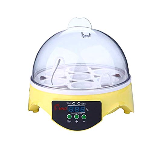 ErYao Egg Incubator,Digital Mini Fully Automatic Egg Incubator with Temperature Control, Digital Poultry General Purpose Incubators for Chickens Ducks Birds (Yellow)