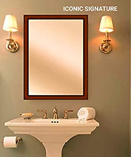 ICONIC SIGNATURE Frame Brown Sunmica Wood Art Decorative Finish Water Proof Vanity Wall Mirror Glass for Living Room, Bathroom, Bedroom(13.5 x 19.5 inch)