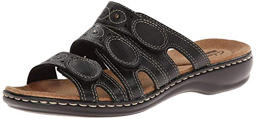 Clarks Women's Leisa Cacti Slide Sandal, Black Leather, 8.5 N US