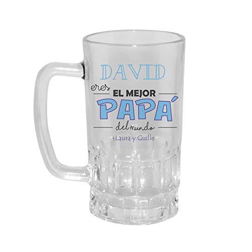 Kembilove Jarra de Cerveza Personalizada y grabada con el Nombre del Padre e Hijos Eres el Mejor Papá del Mundo - Regalo Original para el Día del Padre, Abuelos, Cumpleaños