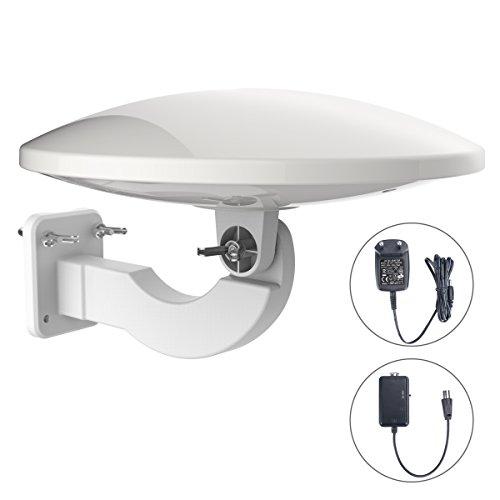 1byone 32db DVB-T/ T2 Antenne digitale Zimmerantenne/Außenantenne mit verstärker 120 KM Reichweite Remote-Antennenempfang von HDTV-, DVB-T / DVB-T2- und Analogsignalen, mit eingebautem 4G LTE