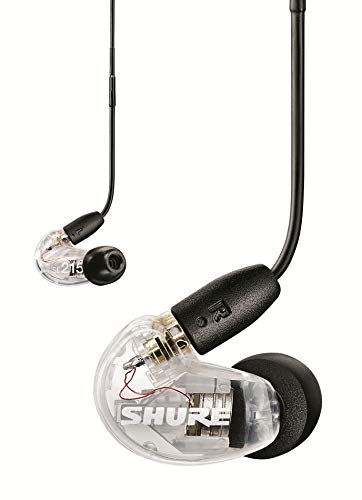 Shure SE215 Wired Sound Isolating Earbuds, Clear Sound, Single Driver, Secure In-Ear Fit, Detachable Cable, Durable Quality, Compatible with Apple & Android Devices - Clear