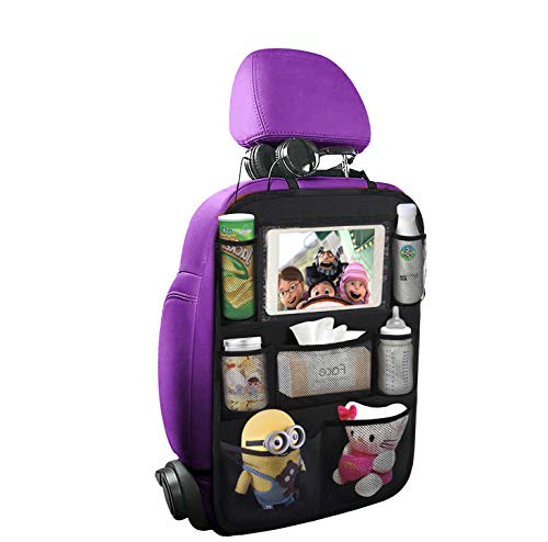 "Sukuos Car Backseat Organizer with 10"" Table Holder + 7 Storage Pockets Seat Back Protectors Kick Mats for Kids Toddlers, Travel Accessories"