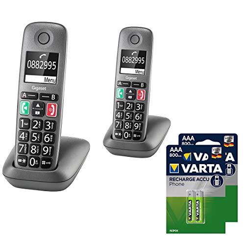 Gigaset Easy - 2 DECT-Telefone schnurlos - inkl. DECT Phone AAA Akkus T398-2 Senioren-Telefone für Router - Fritzbox, Speedport kompatibel - hörgerätekompatibel, anthrazit-grau
