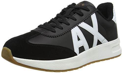 ARMANI EXCHANGE Leather Suede Sneakers, Scarpe da Ginnastica Uomo, Black Optic White, 41 EU