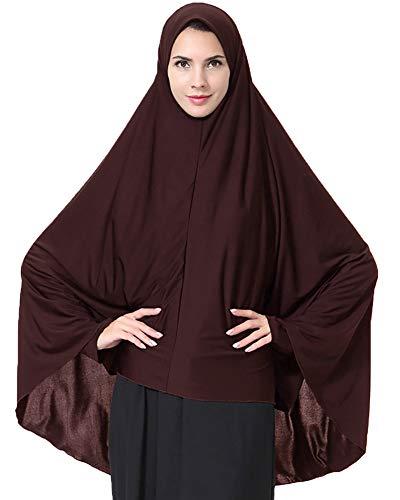Ababalaya Damen Elegantes Modest Muslimischen Islamische Kopftuch Hijab Maxi Schal GroßÜbergröße Einfarbig,Kaffee,M