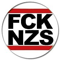 FCK NZS Fuck Nazis Button 25mm schwarze Schrift, weißer Grund