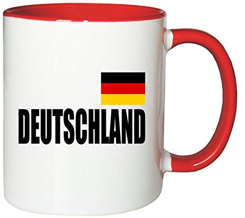 Mister Merchandise Kaffeetasse Deutschland Fahne Flag Teetasse Becher, Farbe: Weiß-Rot