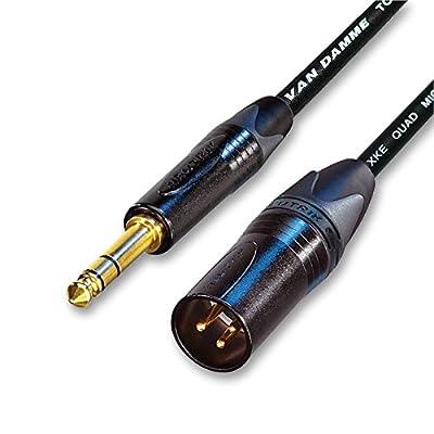 Designacable NC3MXX-B-VDSQBK0100-NP3X-B Van Damme STAR QUAD extension cable, Neutrik Gold Male XLR to TRS, Balanced 1 m black