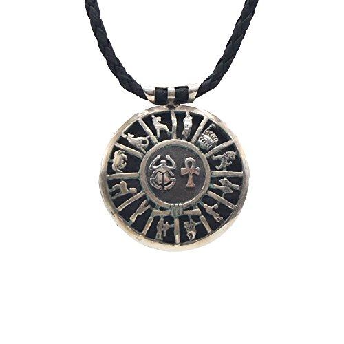 Medallón de Plata Envejecido, Amuleto del Antiguo Egipto, Escarabajo