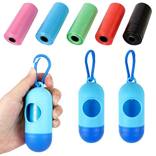 Jubaopen 2PCS Caja de Bolsa de Basura Portátil para Bebe + 5PCS Bolsas de Basura de un Rollo Bolsas de Basura Desechables de Plástico para Almacenar Basura Mascota