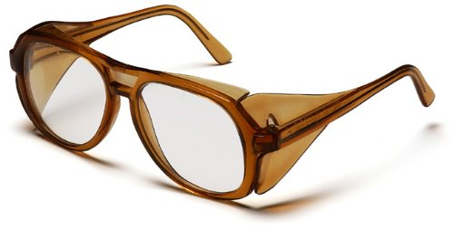 Pyramex Monitor Safety Glasses, Caramel Frame with Clear Lens