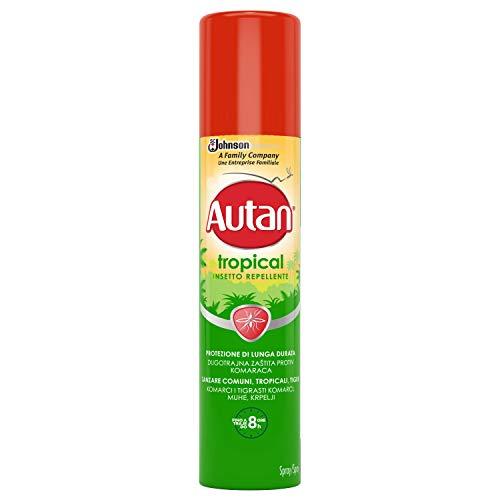 Autan Tropical Spray Insetto Repellente e Antizanzare Tigre, Comuni e Tropicali, 1 Confezione da 100 ml, Protezione di Lunga Durata