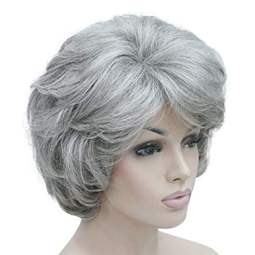 Lydell Women's Short Curly Wavy Wig Synthetic Hair Full Wig 6 inches (51 Silver Grey)