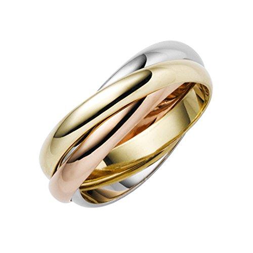 3-er Ring 3x3mm aus 585 Gold Gelbgold Weißgold Rotgold tricolor Unisex, Ringgröße:Innenumfang 52mm ~ Ø16.6mm