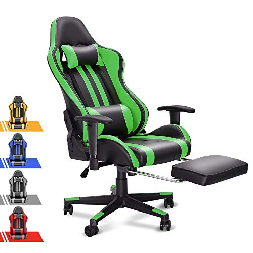 Soontrans Gaming Chair,Video Gaming Chair,Racing Style Office Chair, U Leather Desk Chair with Retractable Footrest,Headrest and Lumbar Pillow,Height Armrest Adjustable,180°Tiltable(Forest Green)