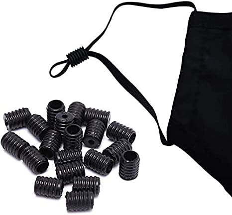 50 Black + 50 White SXFSE 100Pcs Cord Locks Silicone Toggles for Drawstrings Elastic Cord Rope Adjuster Non Slip Stopper Adjustment Buckle Accessories