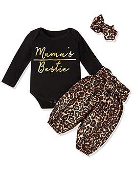 Newborn Baby Girl Clothes Mama s Bestie Romper + Leopard Pants +Leopard Headband 3PCS Winter Outfit Set 0-3 Months