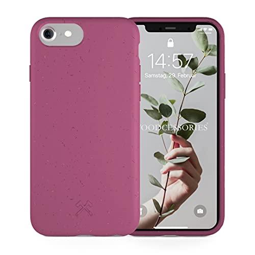 Woodcessories - Funda ecológica Compatible con iPhone SE (2020) / 8/7 / 6 s - Biodegradable, Hecha de Plantas (Vino Rojo)