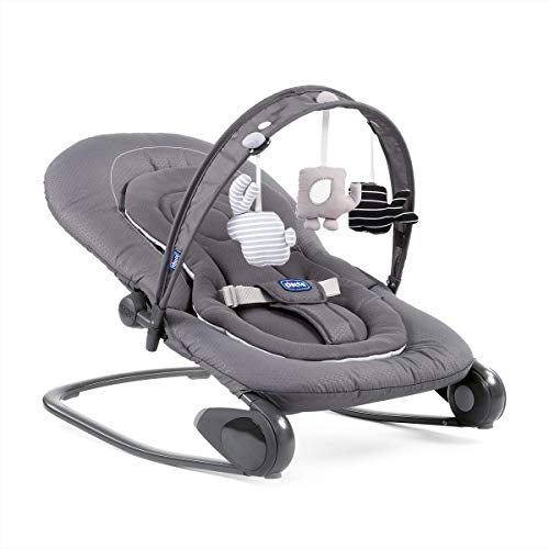 Chicco Hooplà - Amaca per neonati da 0 mesi a 18 kg, dondolo e sedia per bambini con arco per giochi, schienale regolabile e cuscino riduttore, compatta – Grigio (Moon Grey)