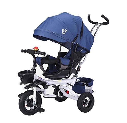 FGX 4-in-1 kinderwagens, kinderwagen, opvouwbare kinderdriewieler, kinderzitje, kinderwagen, 3 wielerfietsen, opvouwbare luifels, dubbele rembescherming (jongen/meisje)