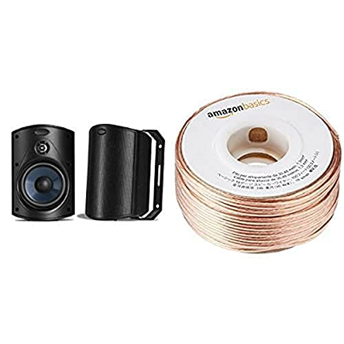 Polk Audio Atrium 4 Outdoor Speakers (Pair, Black) with Amazon Basics 16-Gauge Speaker Wire