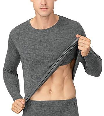 LAPASA Men's 100% Merino Wool Thermal Underwear Top Midweight Base Layer Long Sleeve Shirt M67 (Large, Heather Grey)