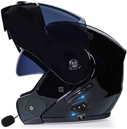 HSWYJJPFB Cascos de Moto Casco de Moto Hombre Altavoz Bluetooth para Cascos, Casco Integral Integrado Modular Plegable de Doble Visera Certificado ECE/Dot 1500G S-XL Cascos 0509(Color:C;Size:L)