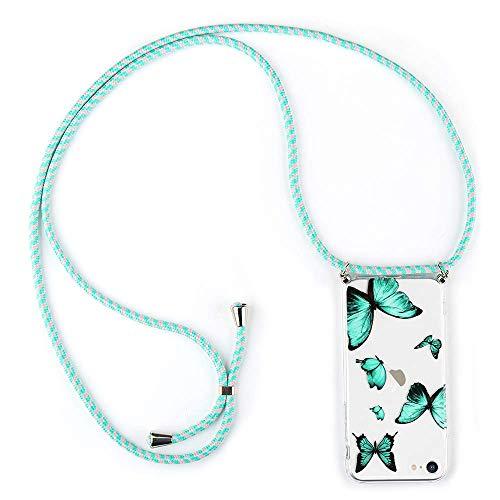 LLZ.COQUE Handykette Hülle für iPhone 6/6S Handyhülle mit Kordel zum Umhängen Schmetterling Schutzhülle mit Band Transparent Butterfly Case Hülle mit Kette für iPhone 6/6S Minzgrün