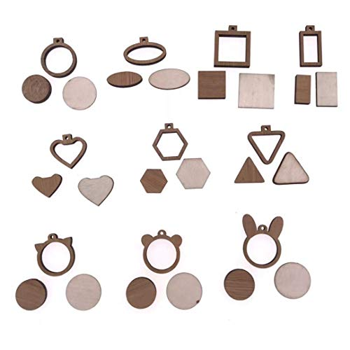 (10PCS Different Size) DIY Wooden Mini Embroidery Hoop for Necklaces Or Pendants Miniature Embroidery Hoops DIY Tiny Hoop Kit
