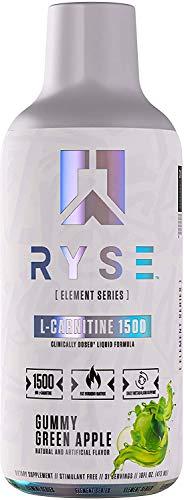 Ryse L-Carnitine 1500mg Liquid - 16 oz, 31 Serving - Stimulant Free - Fat Burning Matrix - Daily Metabolism Support - Keto Friendly Zero Sugar, Zero Carb, Zero Calories (1500 mg Gummy Green Apple)