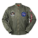 CORIRESHA Mens Apollo Space Embroidered Patches Slim Fit Bomber Jackets Windbreaker Army Green