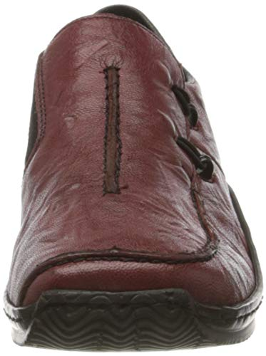 Rieker L1751-35 Celia 72 Wine Leather Womens Comfort Slip On Shoes