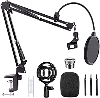 Mic Stand Desk Professional Adjustable Microphone Boom Stand Suspension Scissor Arm Stand with Pop Filter 3/8  to 5/8  Screw Adapter Mic Clip Heavy Duty Clamp for Blue Yeti Snowball Recording