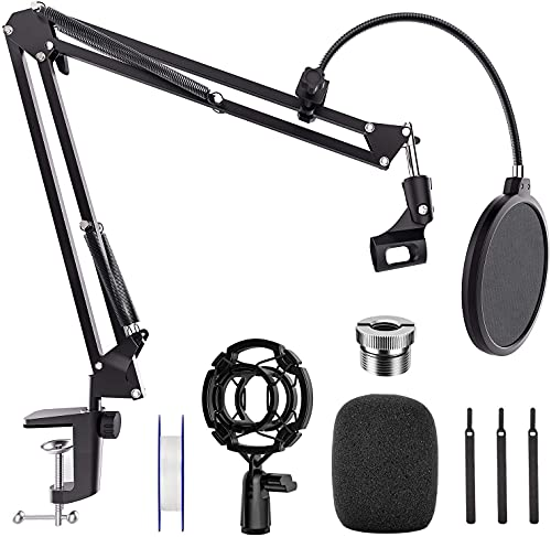 Mic Stand Desk, Professional Adjustable Microphone Boom Stand Suspension Scissor Arm Stand with Pop Filter, 3/8' to 5/8' Screw Adapter, Mic Clip, Heavy Duty Clamp for Blue Yeti Snowball Recording