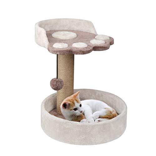 XJD Tiragraffi per Gatti Albero Tiragraffi per Gatti di Naturali Sisal, Ideale per Giocare a Rilassarsi e Dormire (Beige, A)