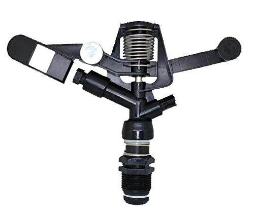 HidroRain RC8035 - Aspersor circular plástico, conexión 3/4' rosca macho, 360º, 12 x 3 x 12 cm, color negro