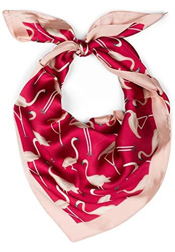 styleBREAKER pequeño y sedoso pañuelo triangular con estampado de flamencos y borde de color de contraste, pañuelo, pañuelo para la cabeza, señora 01016164, color:Rojo-Rosa