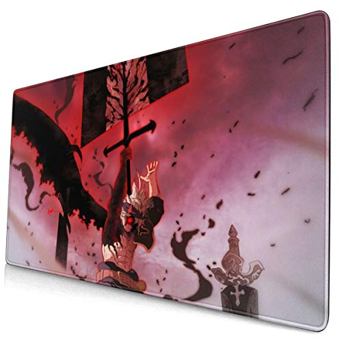 Black Clover Japanese Anime Style Large Gaming Mouse Pad Desk Mat Long Non-Slip Rubber Stitched Edges Mice Pads 15.8x29.5 in